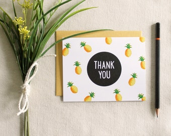 Set of 5 Thank You Cards / Pineapples / blank inside