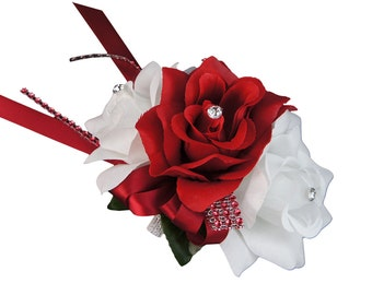 Apple Red White rose wrist corsage