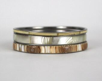 70s Shell Stacking Bracelets - Shell Inlay Bangles Set of Three - Vintage 1970s Boho Bangle Bracelets
