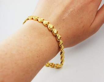 Gold Reflective Heart Bracelet Delicate Dainty Every Day