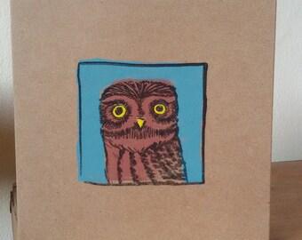 Little Owl handprinted greetings card