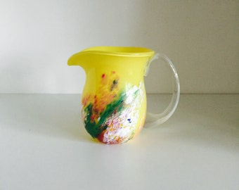 Vintage Glass Jug Pitcher Studio Glass Hand Blown Yellow Glass And Clear Handle With Multicoloured Brushstroke Design Circa 1980s