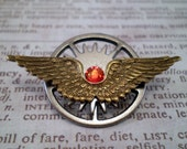 Winged Steampunk Pin, Winged Steampunk Medal, Winged Gear Pin, Winged Steampunk Gear Pin, Flight of Fancy
