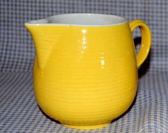 Vintage Ribbed Yellow Pottery Creamer Pitcher