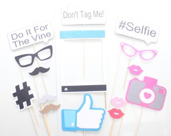 15Pc *Social Media Photo Booth Props/Photobooth Props