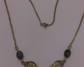 vintage sterling silver and laboradite necklace