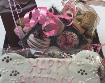 Dog Gift Basket//Birthday/Get Well/ Pink Girl Gift Basket for Dogs