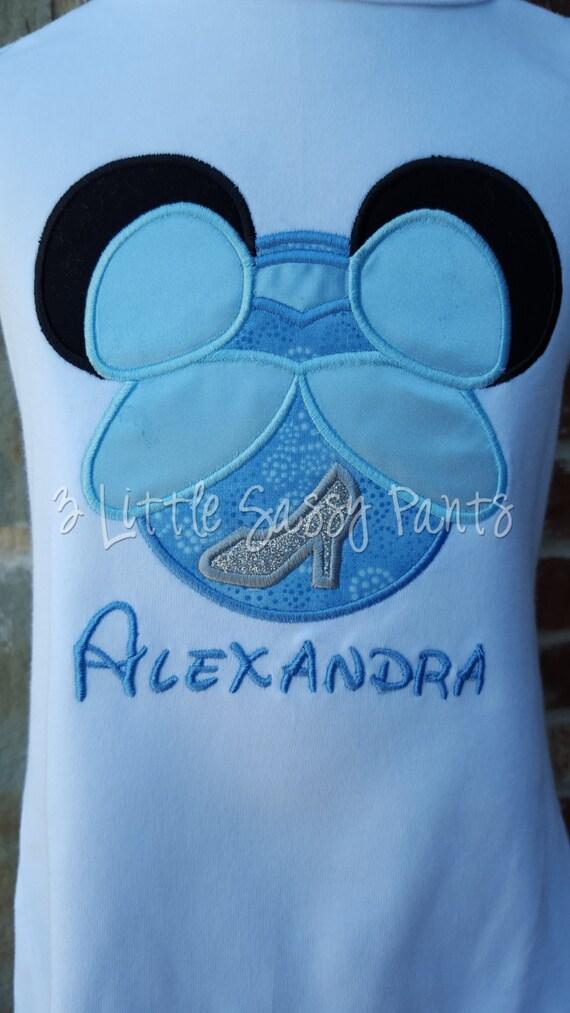 Princess Cinderella Mickey Ear Shirt Princess Applique Shirt