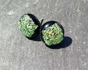 Green/Yellow Earrings - Sterling Silver Setting, Made in the UK