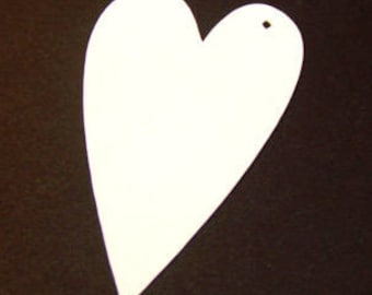 100 white 3 inch primitive heart shaped tags es