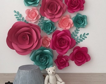 Set of 13 Large Paper Flowers - Paper Flowers -Paper flower Wall decor - Paper Flower wall