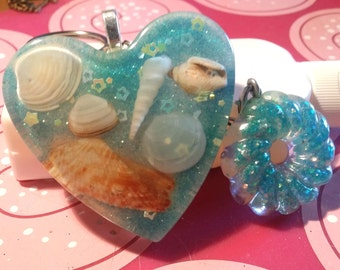 Keychain heart with real shells of Lanzarote