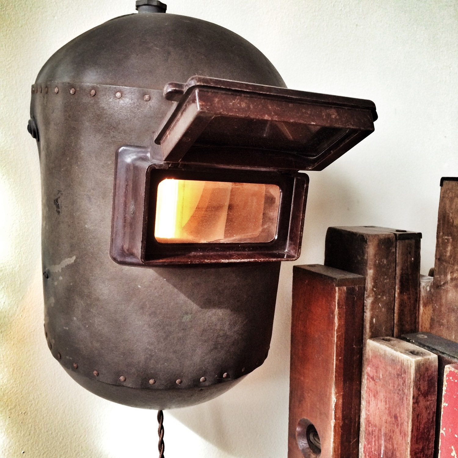 Upcycled welding mask light fixture steampunk - Recycled light fixtures ...