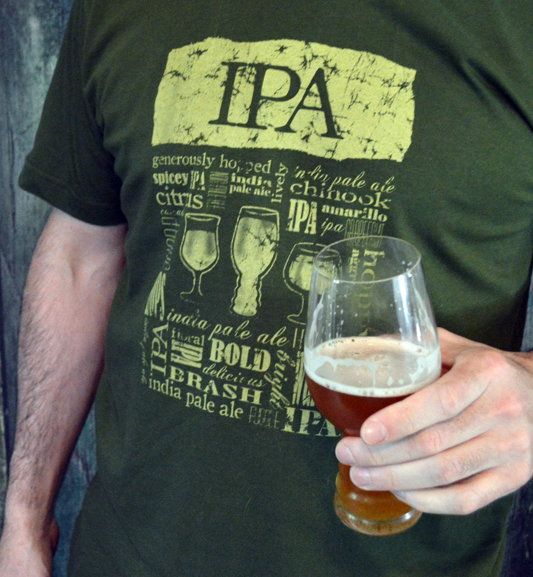 Ipa beer t shirt unisex green craft beer shirt beer gift for Craft brewery t shirts