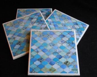 Moroccan Coasters ~ Mosaic Coasters ~ Ceramic Tile Coasters ~ Drink Coasters ~ Housewarming Gift ~ Blue Coasters ~ Bohemian Decor