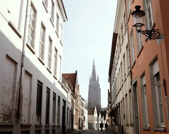 SALE Street in Bruges, Belgium Photograph, Street Photography, Travel Photography, Europe, Church, Portrait Composition, Gift ideas