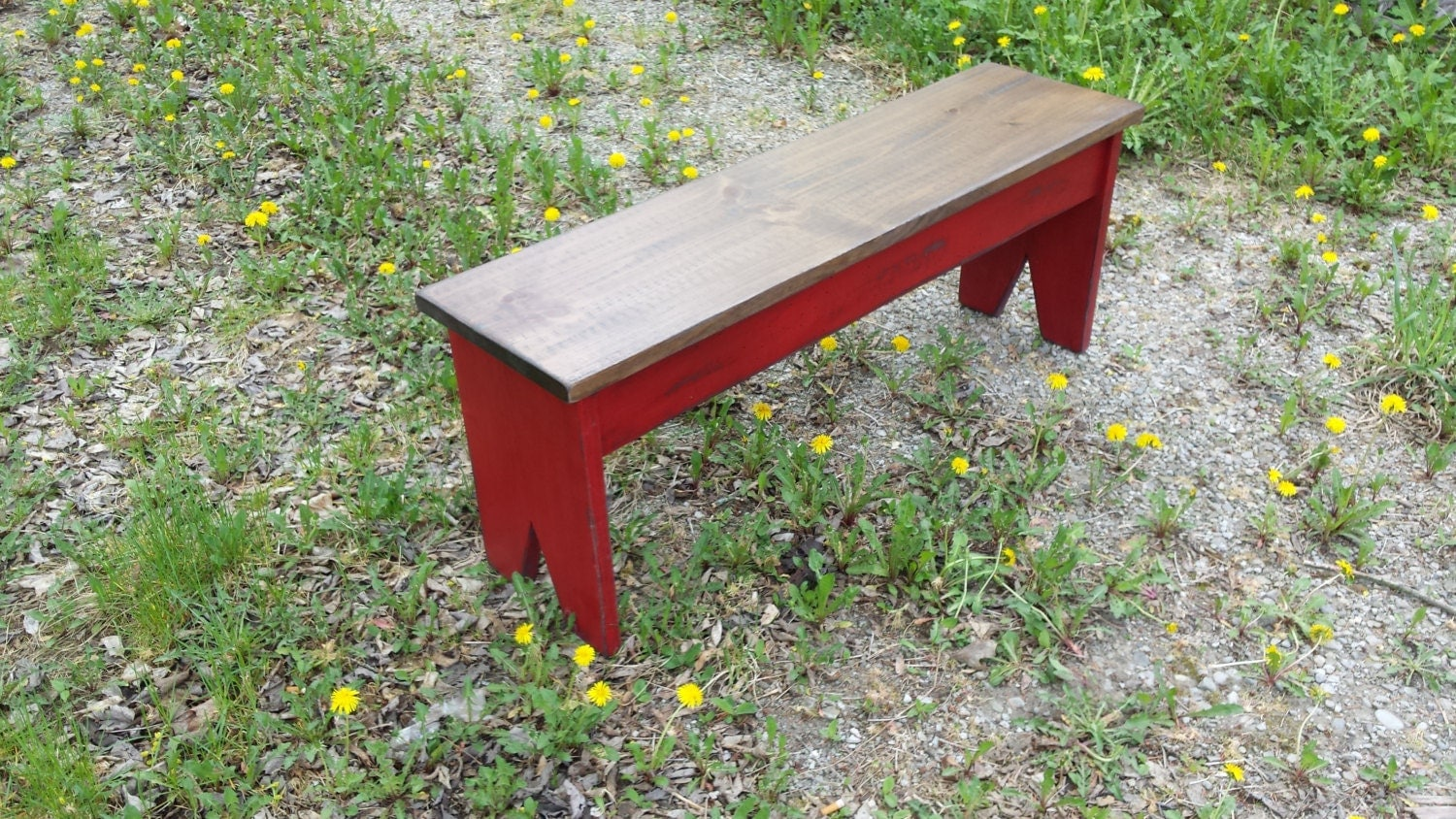 Wooden Porch Bench Antique Red Patio Bench