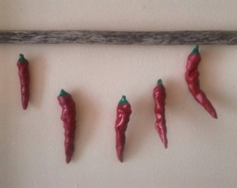 ceramic pottery chile ristra inspired kitchen art sculpture chili pepper wall hanging with old wood