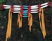 Choker buffalo bone mini breastplate choker necklace and turquoise beads with deerskin fringe