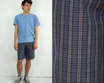 80's vintage men's blue checked shorts