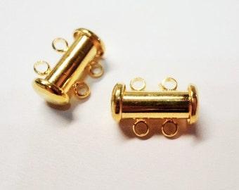 SALE: 2 Bright Gold Slide Clasps, 2-strand slide lock, thick 14x10mm