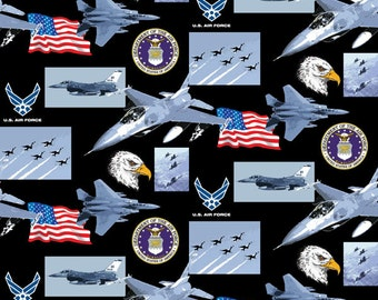 Military Cotton Fabrics by Print Concepts! Airforce, Army, Coast Guard, Marines, & Navy [Choose Your Cut Size]