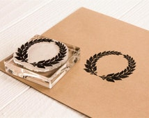 Olive Wreath #2 Rubber Stamp  - 2x2 inches - Laurels