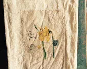 Daffodils floursack tea towel