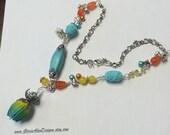 Turqoise, Yellow and Orange Necklace,Boho Necklace,Chunky Necklace