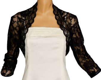 Ladies Black Lace 3/4 Sleeve Bolero Shrug