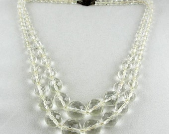 Faceted Crystal Jewelry: Double Strand Faceted Clear Crystal Vintage Necklace