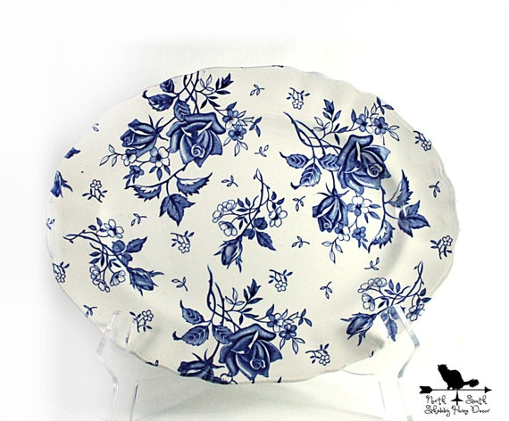Blue Tudor Roses Platter, J & G Meakin Vintage Blue Transferware, Shabby Tableware, Downton Abbey Inspired Decor