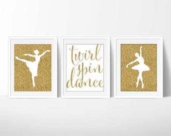 Ballet Prints, Dance Printable, Ballet Nursery 8x10 Pink and Glitter, Downloadable Art, Set of 3 Dance Printables, Digital JPG and PDF Files