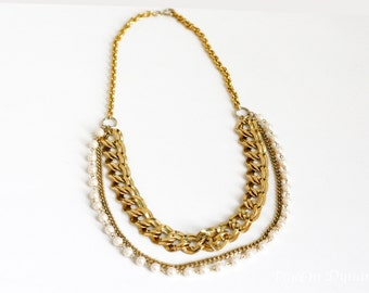 Pearl Layered Gold Statement Long Necklace-Pearl Chunky Necklace-Gold Statement Necklace-Layered Necklace-Layering Necklace-Pearl Necklace