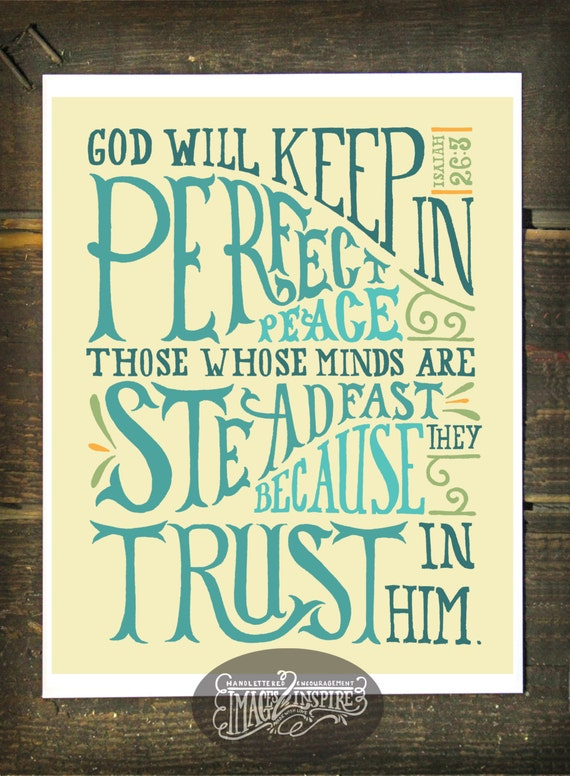 Isaiah 26 3 Hand Lettered 8x10 Print Instant Download