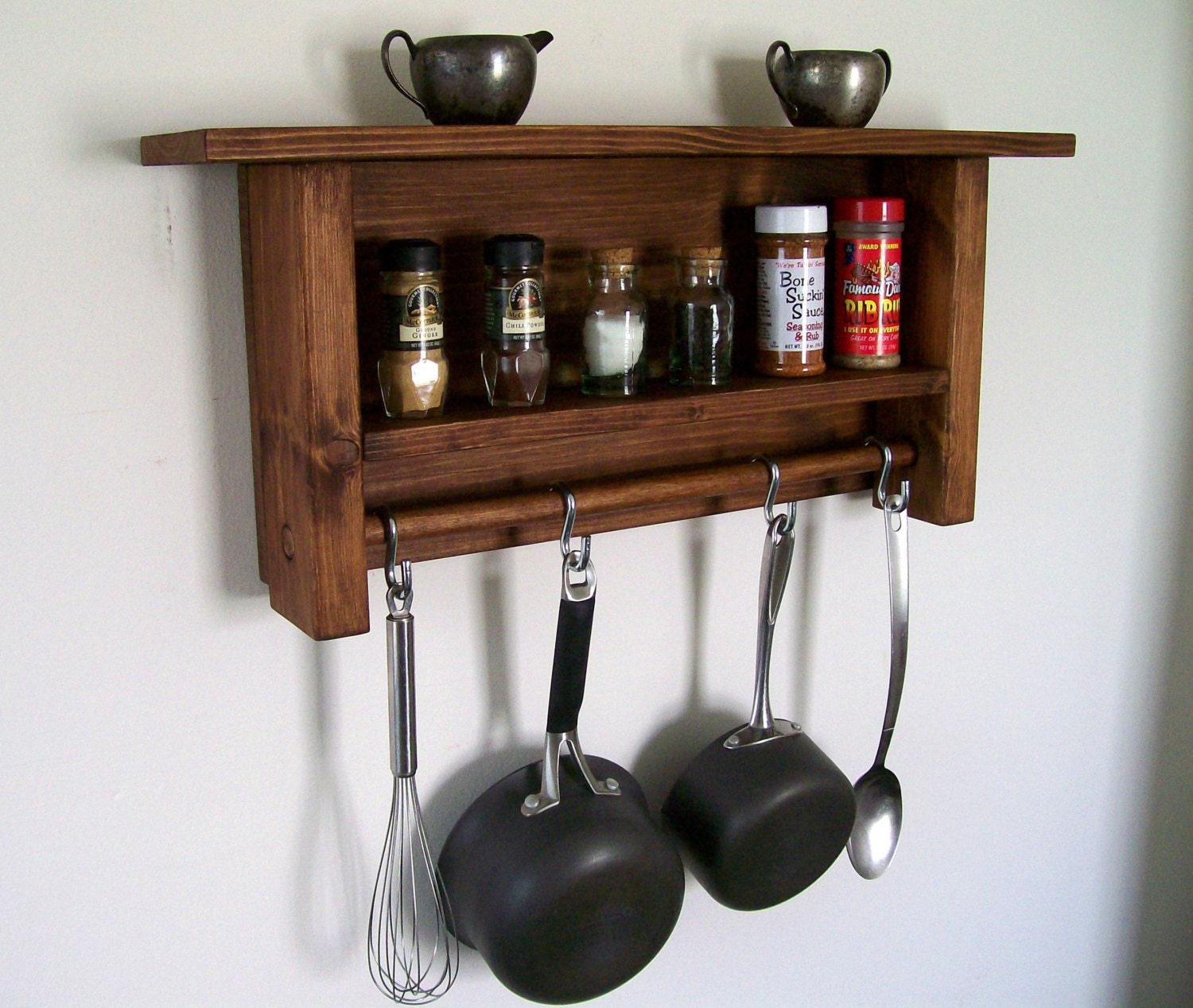 Rustic spice rack kitchen shelf pot rack kitchen orgainizer for Pot racks for kitchen
