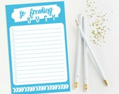 To Do List, Shopping List, Grocery List - So Freaking Busy {Blue and White}