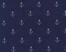"Navy Blue ""Anchors Away"" Fabric - Michael Miller. 100% cotton. Little Nautical, Ocean, Patriotic - DC5627-Navy"