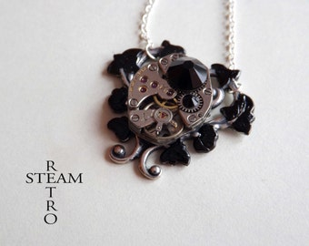 10% off sale17 Black Heart Steampunk Necklace - Steampunk Jewelry - Heart Necklace - Steampunk Jewellery  -personalized jewelry -gothic