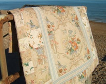 1940s Floral Patchwork Quilt, Eiderdown, Bed Cover or Sofa Throw