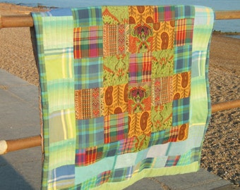 Summer Patchwork Quilt with Paisley, Tartans and Exotic Asian Textiles
