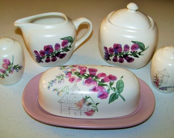 Pfaltzgraff Cape May Butter Dish And Salt & Pepper And Creamer And Sugar Bowl
