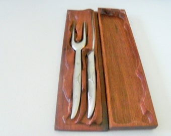 Latama Italy Vintage Stainless Steel Carving Knife & Fork Set With Wood Case