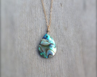 Abalone Necklace - Shell Necklace - Tear Drop Necklace - Dainty Gold Necklace - Abalone Jewelry - Abalone Drop Necklace - Gold Filled