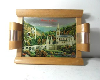 Souvenir tray from Lourdes, French vintage Virgin Mary & St Bernadette, Notre Dame de Lourdes, decorative tray, religious gifts.