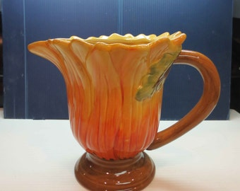 Rare Maxcera Corp Terra Cotta Sunflower Pitcher
