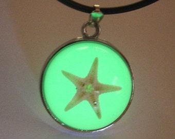 Star Fish Necklace, Green glow Drop Pendant