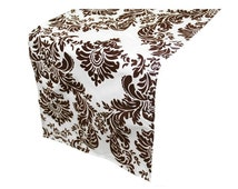 White and Chocolate Brown Damask Table Runner