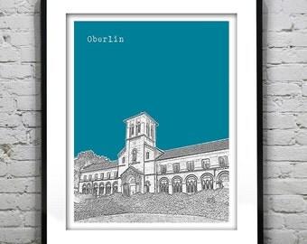 Oberlin Skyline Poster Art Print Ohio OH
