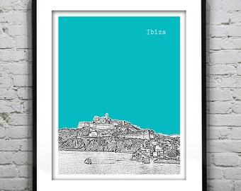 Ibiza Skyline Art Print Poster Spain Version 1